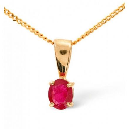 9K Gold 5mm x 4mm Ruby Pendant, Z1048